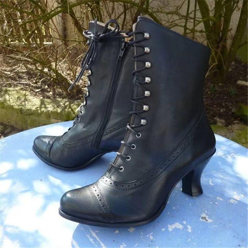 Женские ботинки до середины икры, винтажные туфли-лодочки из искусственной кожи на среднем каблуке, гладиаторская обувь на шнуровке, женска...