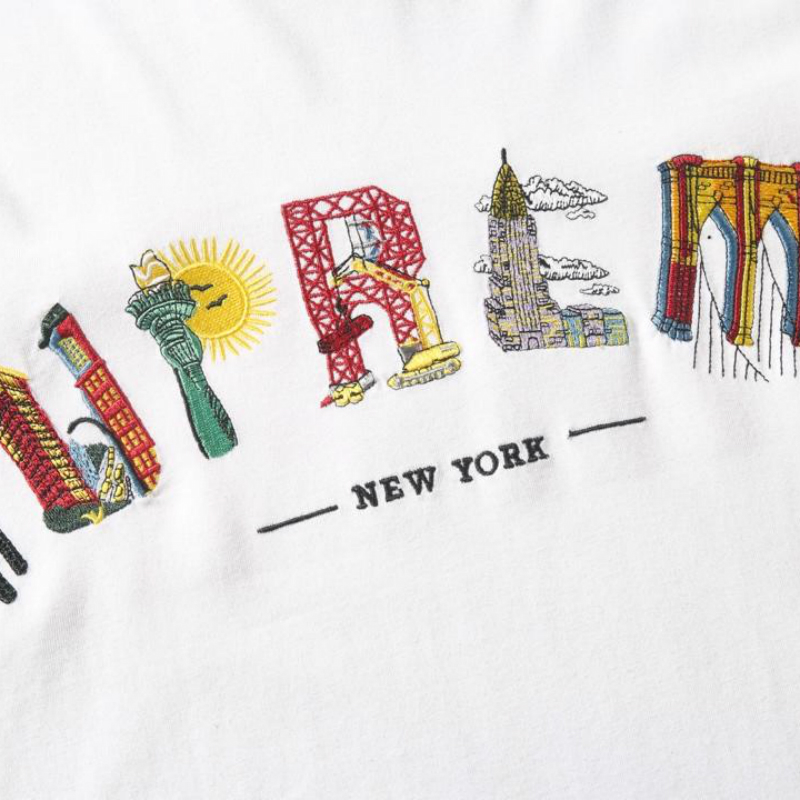 20ss S/Sw City Arc Tee Embroidery Tee  Men Women 1: 1 High Quality Streetwear Harajuku Summer Top Tee Vetements New York Tshirt