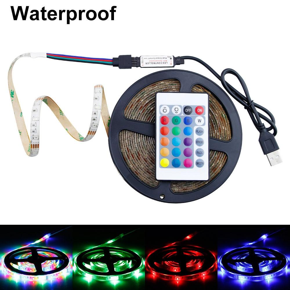 Neon Lamp LED Light Strip RGB USB 5V 2835 SMD 1M 2M 3M 4M 5M Four Modes Outdoor Fita Led Strip Waterproof Ambilight TV Backlight(China)