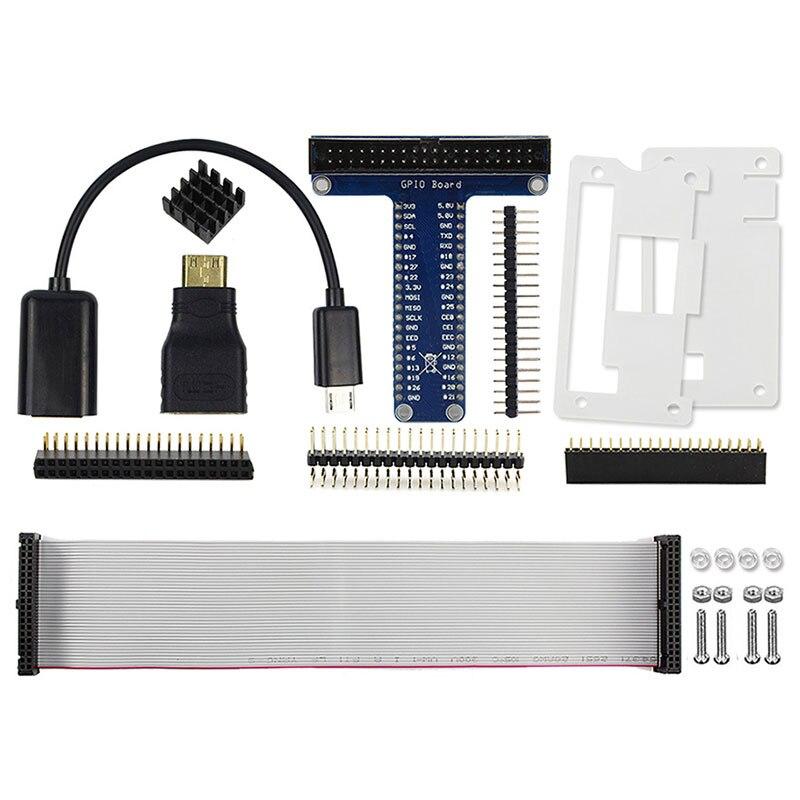 Framboesa pi zero/zero w starter kit 8 em 1 usb otg host cabo mini hdmi para hdmi adaptador gpio interface encabeçamento acrílico caso