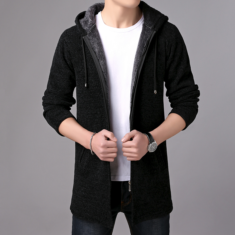 2019 Autumn Winter New Mens Sweater Thick Warm Long Cardigan Men Hooded Sweater Coat Male Cardigan England Style sweater jacket