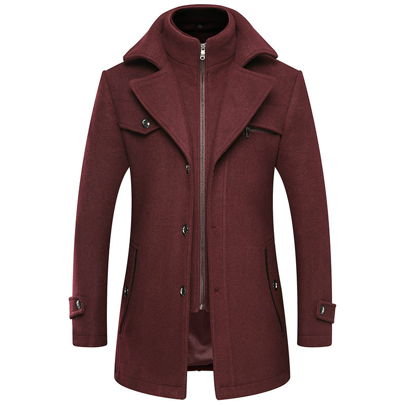 Winter Red Woolen Blend Coat Male Slim Large Size Windbreaker Men Thick Extra Long Wool Coat Mens Autumn Casual Overcoat 3xl 4xl