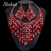 Women Bridal Gift Wedding Jewelry Set Fashion Dubai Full Round Rhinestone Jewelry Set Costume Design Necklace Earrings Set(China)