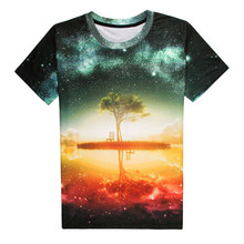 T-shirt Men Women Space Shirts Hip hop T-shirt 3d Print Nightfall Tree Summer Tops(China)