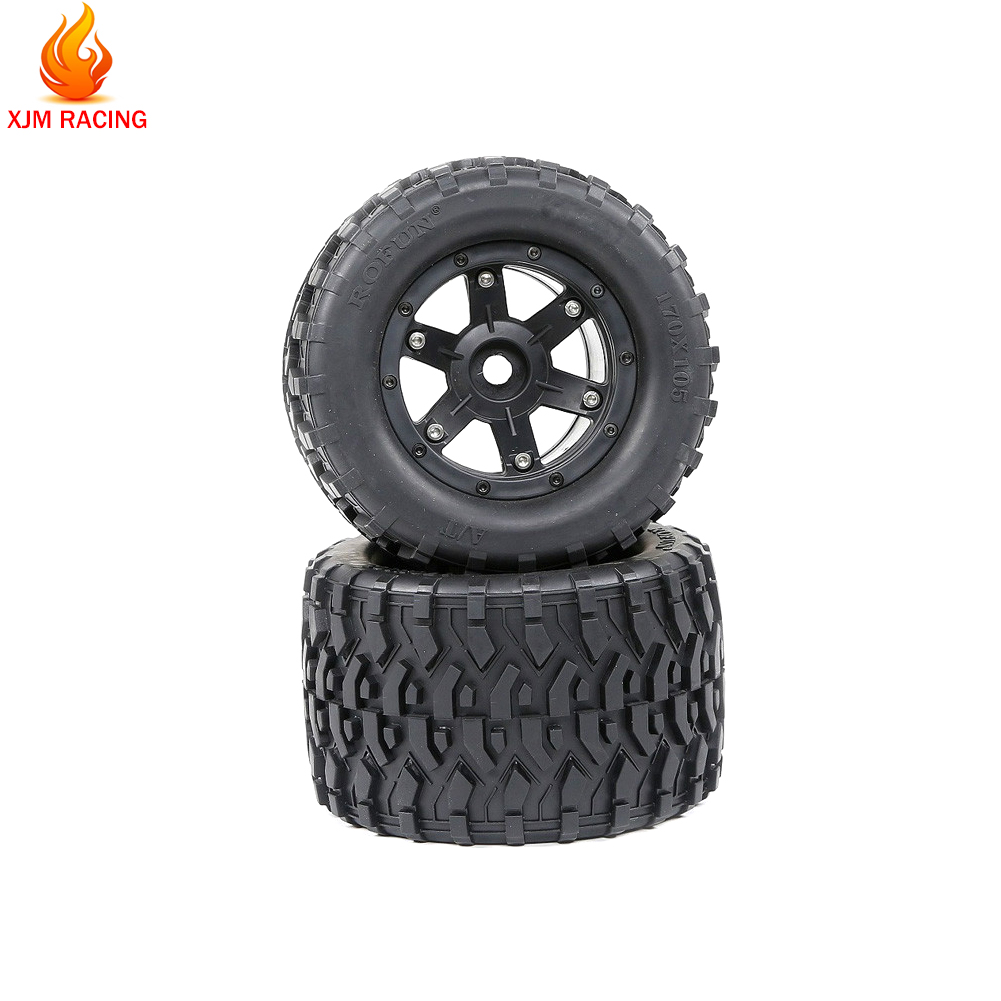 All Terrain Wheel Tire Set(170mmX105mm) for 1/8 HPI Racing Savage XL FLUX Rovan TORLAND MONSTER BRUSHLESS Truck Rc Car Toy Parts image