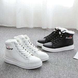 Image 3 - SWYIVY zapatos blancos para mujer, zapatillas de deporte de invierno, zapatos informales de plataforma, botas altas de invierno, botines femeninos, Top alto de piel de felpa 2019