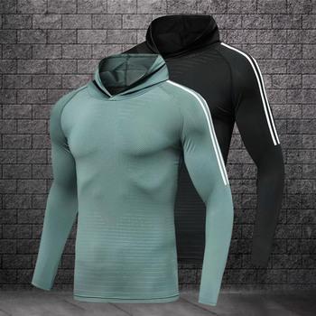 Męskie koszulki do biegania szybkoschnące kompresyjne t-shirty sportowe koszulki do biegania fitness gym męskie koszulki piłkarskie tanie i dobre opinie BAOGEYANG Pasuje prawda na wymiar weź swój normalny rozmiar Oddychająca S M L XL XXL Men s running T-shirt fitness T-shirt