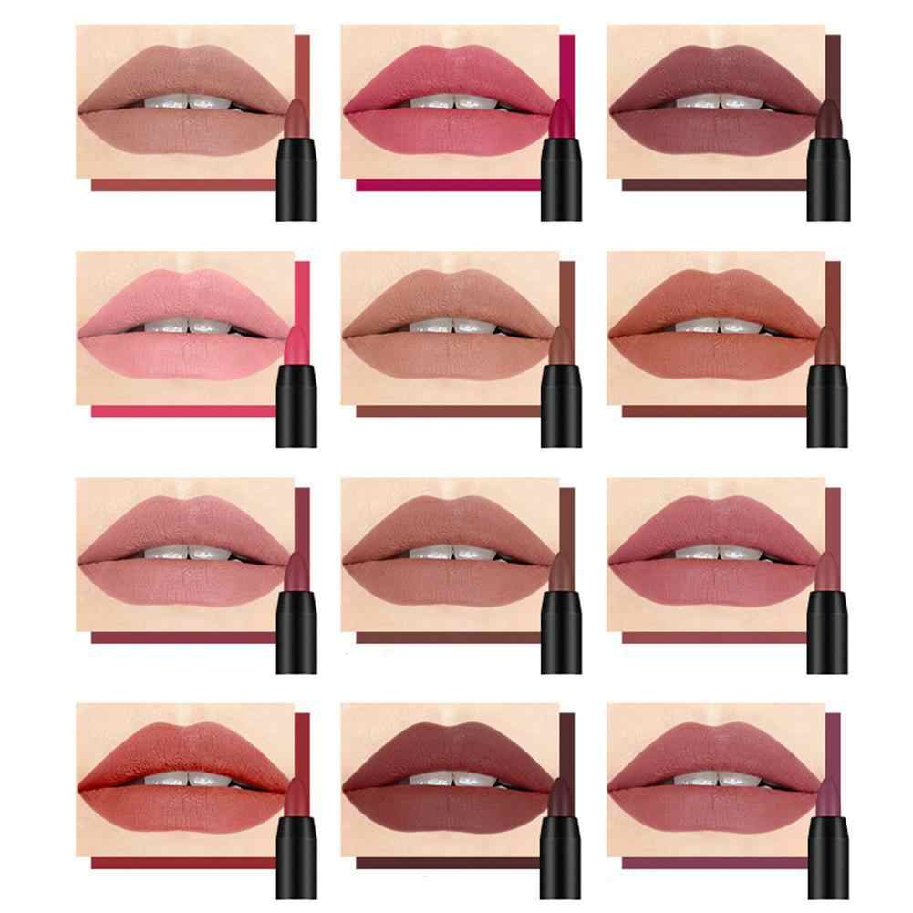 19 colori Matte Rossetto Matita Labbra Make up Bacio Impermeabile A Prova di Matt Stick Labbra Balsamo per le labbra Penne Sexy Girevole Lip fodera Pigmento