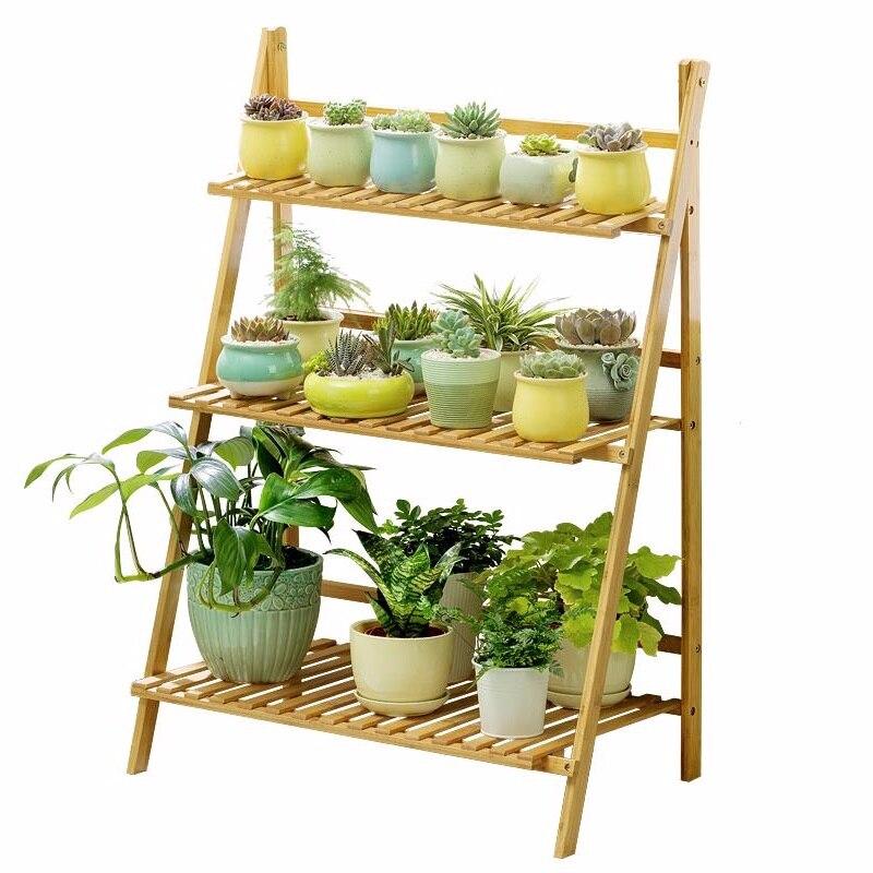Wood Estanteria Para Plantas Varanda Plantenrekken Indoor Plant Wooden Shelves For Dekoration Outdoor Balcony Shelf Flower Stand