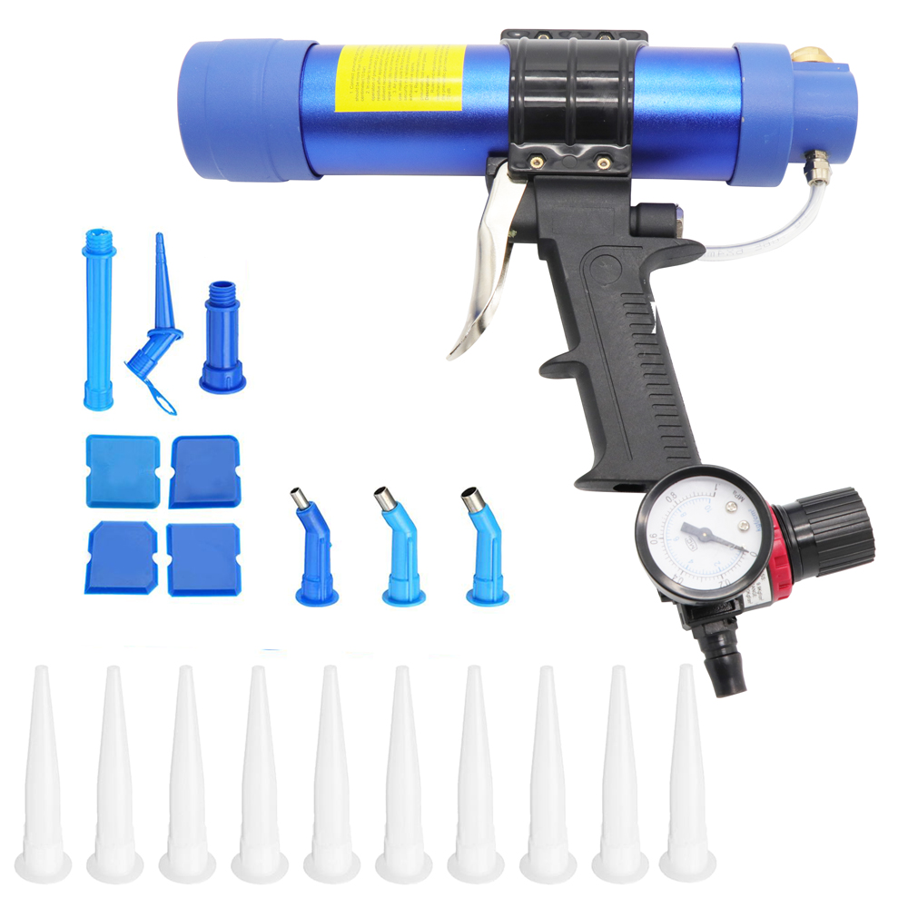 Pneumatic Sealant Guns 310ml Air Gun Valve Silicone Sausages Caulking Tool Caulk Nozzle Glass Rubber Grout Construction Tools