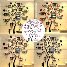 3D DIY Acrylic Family Photo Frame Tree Wall Sticker Home Decor Living Room Bedroom Wall Decals Poster Home Decoration Wallpaper(China)