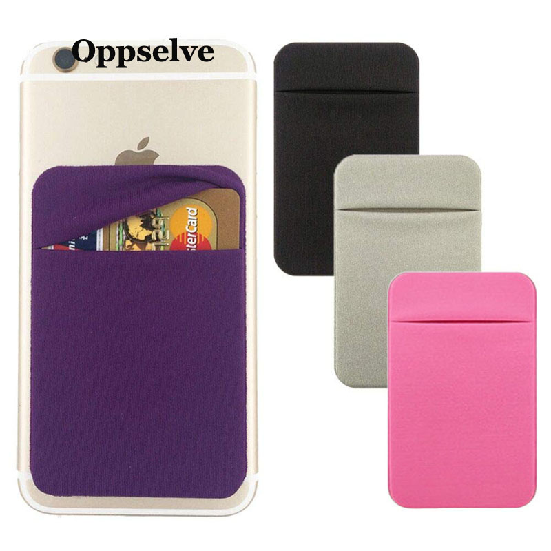Oppselve Universal Phone Back Slot Card Wallet Case For iPhone X 7 Fashion Sticker Silicone Pouch Samsung Xiaomi