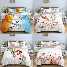 Комплект постельного белья с 3d музыкальными нотами 2/3 шт красочный