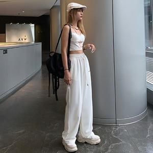 Women pants Trousers Loose High Waist Waist Thin Straight Printing Wide Leg Women Casual Pants jogger sweatpants 2020 streetwear