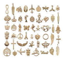 50pcs Vintage Metal Mixed Gold color Animal Charms Pendants For Jewelry Making Diy Handmade Bracelet Accessories