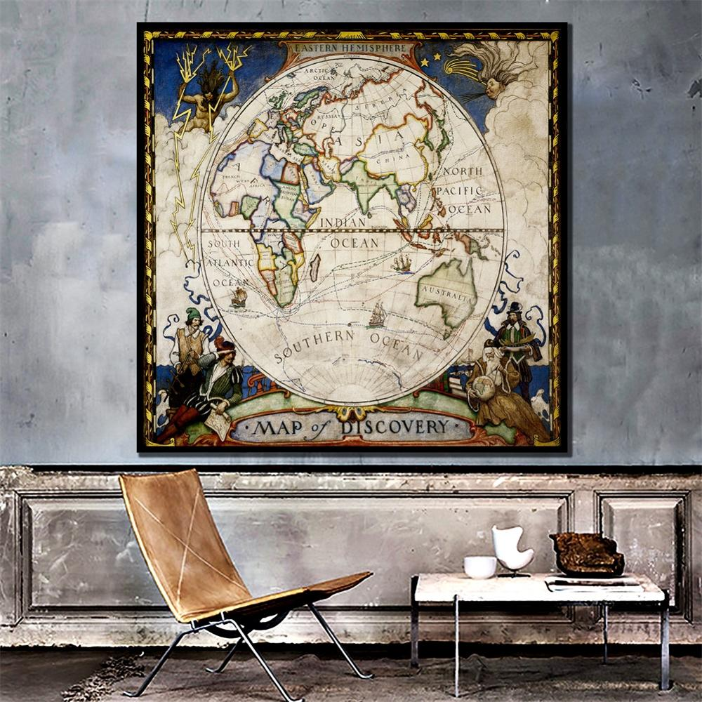 24x24 Inch Eastern Hemisphere Map Of Discovery Vintage Decor Map Home Office Wall Decoration Painting