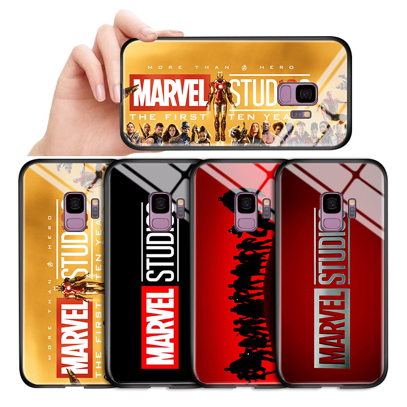 For <font><b>Samsung</b></font> <font><b>Galaxy</b></font> A10 A20 <font><b>A30</b></font> A50 A60 A70 A80 A90 Classic <font><b>Marvel</b></font> Studio <font><b>Logo</b></font> Glossy <font><b>Case</b></font> Tempered Glass Back Cover Casing image