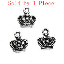 Sales Retail 1 Piece 10x10mm Crown Charms Mens Necklaces Pendants Children Craft(China)