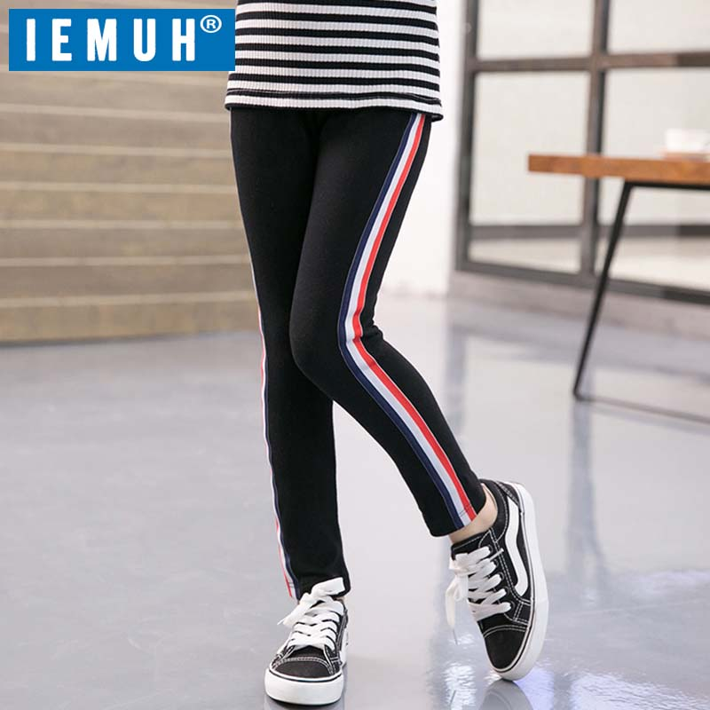 IEMUH Kids Girls Leggings Spring Autumn Girls Pants Side Striped Elasticity Children's Skinny Sport Leggings Girls Trousers