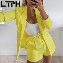 LTPH gorąca sprzedaż 2020 nowe zestawy dla kobiet jesień z długim rękawem cardigan Blazer szorty stałe dwuczęściowy Lady Casual krótkie stroje odprawy