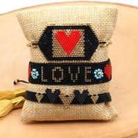 Rttooas corazón letra pulsera mujeres Pulseras Mujer Moda 2019 hecho a mano telar tejido encanto Pulseras accesorios regalos para niñas