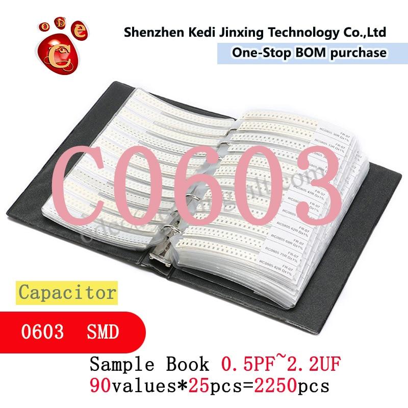 0603 SMD конденсатор с алюминиевой крышкой, книга с образцами 90valuesX25pcs = 2250 шт. 0.5PF ~ 2,2 мкФ набор различных конденсаторов пакет