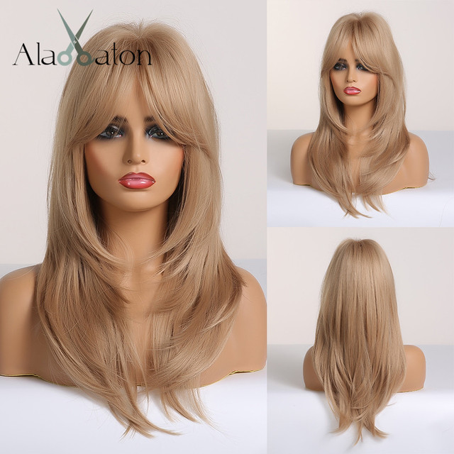 ALAN EATON Blonde Synthetic Wig with Bangs Long Wavy Wigs for Woman Cosplay Party Wig Daily False Hair Heat Resistant Fiber