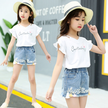 Summer Flying sleeve Kids Girls 2 Piece 5-14 Year Old Girl Outfits Puff Sleeve T-shirt Two Denim Short Clothing Set