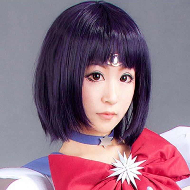 Anime Sailor Moon Sailor Saturn Wig Cosplay Wigs Tomoe Hotaru 35cm Purple Black Mix Short Bobo Synthetic Hair Wigs + Wig Cap