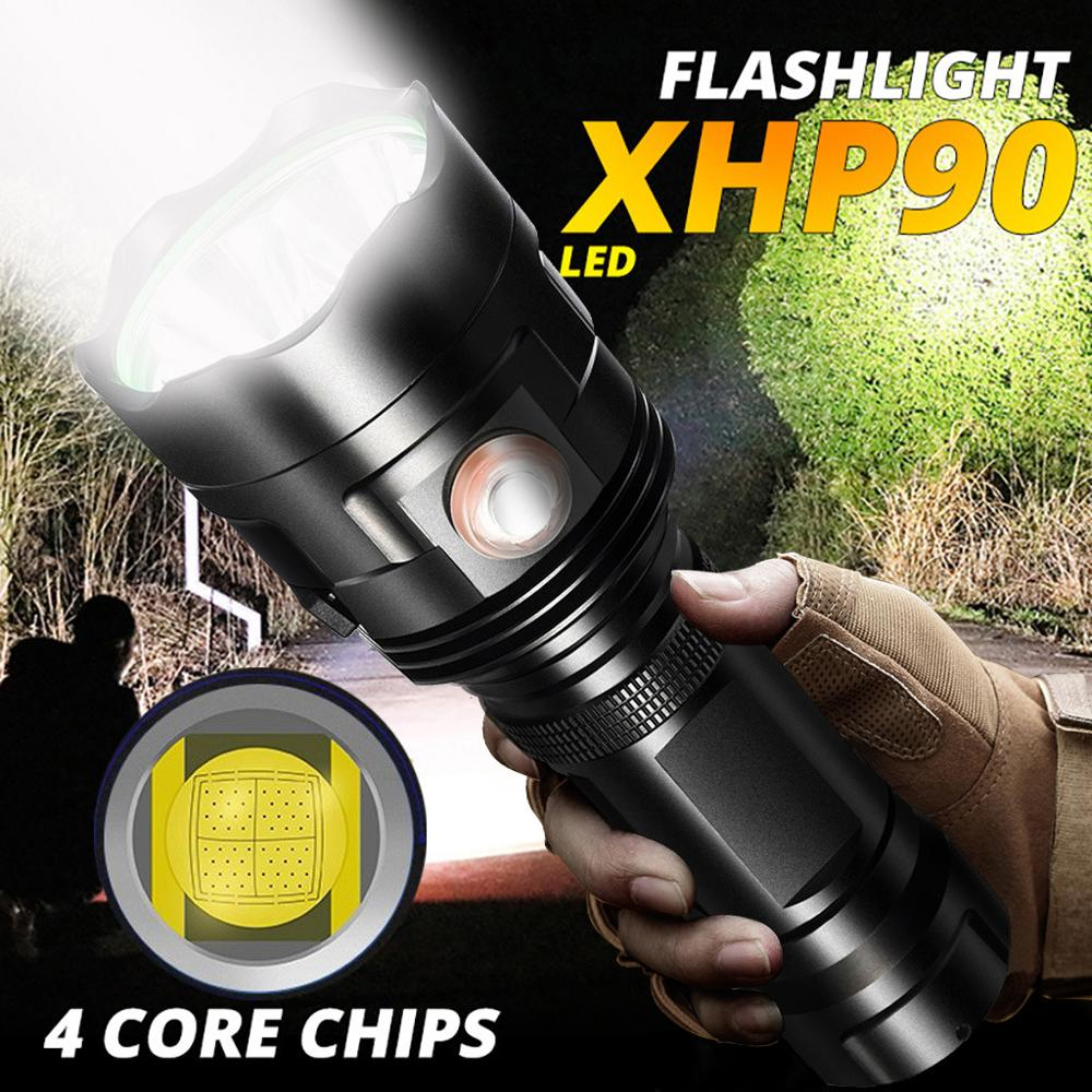 XHP90 Super Bright LED Flashlight USB Rechargeable 6 Model High Power Torch Outdoor Waterproof Camping Use 26650 Battery
