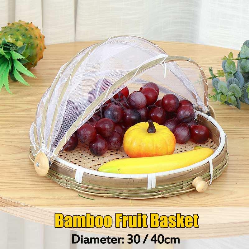 Piquenique ao ar livre feito à mão bambu tecido à prova de insetos cesta de vime à prova de poeira bandeja de frutas alimentos pão pratos capa gaze panier osier