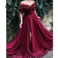 New Off Shoulder Burgundy Evening Party Dresses With 3/4 Sleeve 3D Flower High Slit Tulle Long Prom Gowns Vestido Longo Festa
