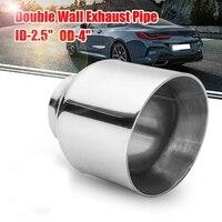 60mm-100mm tubo de escape traseiro universal tubo de aço inoxidável tubo de cauda silenciador ponta de escape