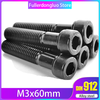 M3x60 50 PCS Grade 12.9 Black  Alloy Steel Hex Socket Head Cap Screws  ( m3 60mm m3*60 m3 screw 60mm m3x60mm )