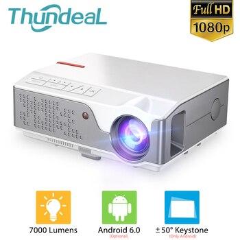 ThundeaL Full HD nativa de 1080P TD96 LED Mini Proyector portátil WiFi inalámbrico Android Multi-pantalla Beamer 3D Video proyector Cine en casa 2800 lúmenes con pantalla Compatible con AC3