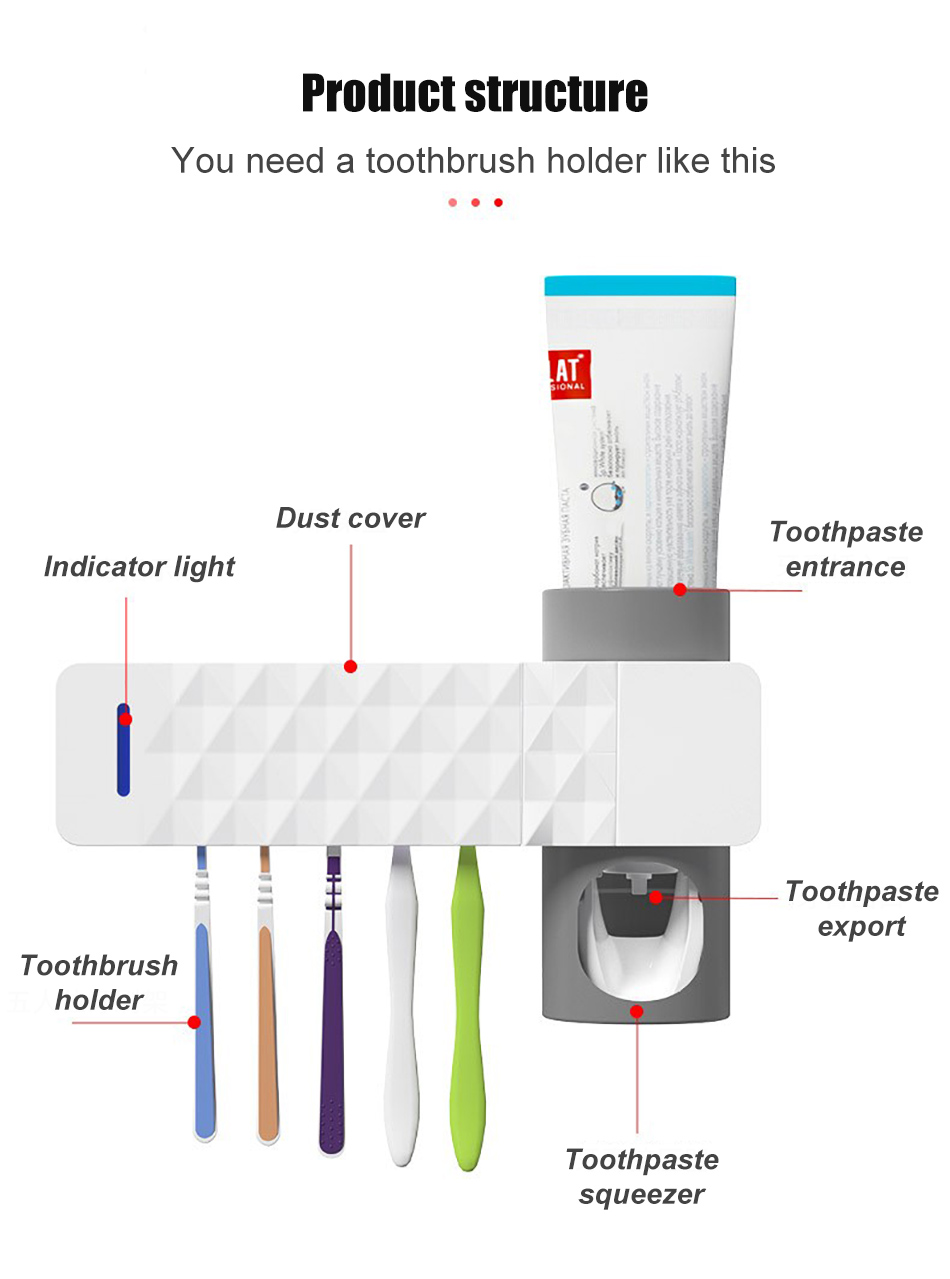 GURET 3 in 1 UV Toothbrush Sanitizer with Automatic Toothpaste Squeezers as Bathroom Accessories 13