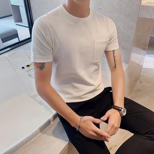 Image 4 - Мужская футболка с коротким рукавом, Повседневная облегающая Трикотажная футболка с круглым вырезом, размеры 3XL, 2020