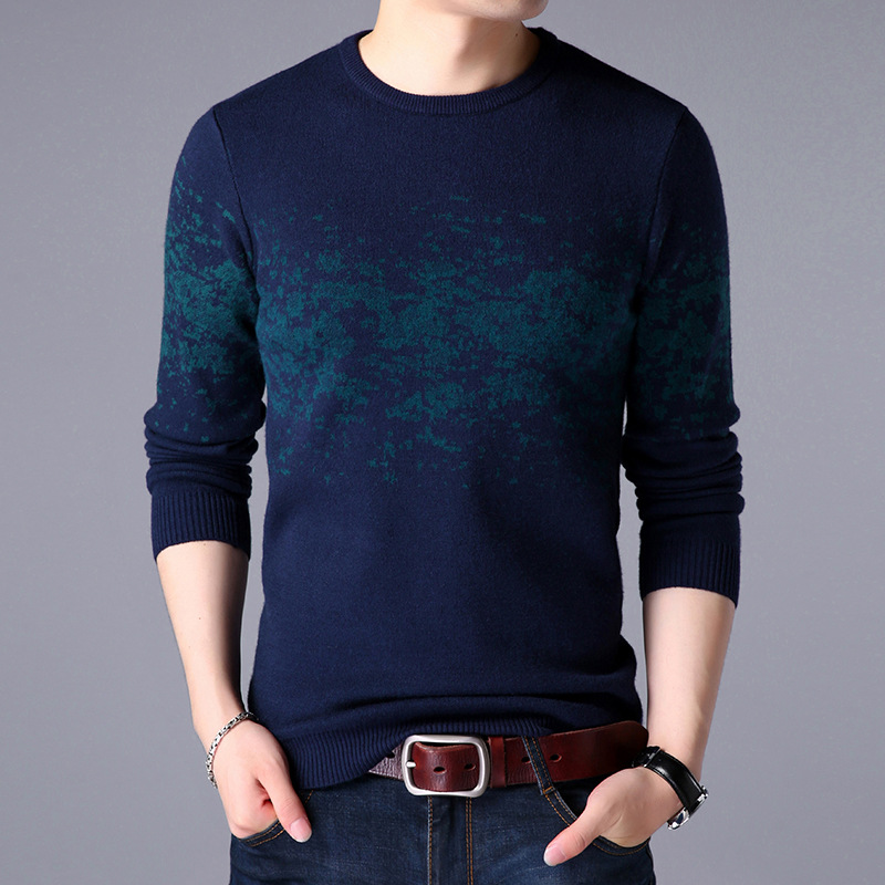 YUSHU Warm Mens Cashmere Sweaters Casual O-Neck Pullover Men  2019 Autumn Winter Slim Fit Knitwear Men Brand Clothing