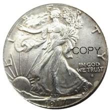 US 1917-DS Obverse (Regular Strike) Walking Liberty Half Dollar Silver Plated Copy Coins