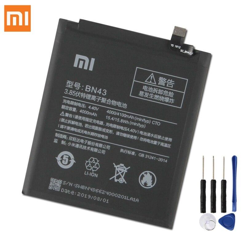 Bateria de substituição original para xiaomi redmi note4x hongmi nota 4x versão padrão redrice bn43 nota 4 global snapdragon 625