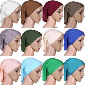 Solid Color Women\'s Muslim Islamic Solid Cotton Hijab Cap Head Under Scarf Shawl Turban Islam Scarf Inner Headband Bonnet Gift