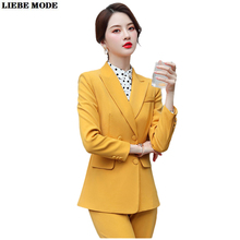 Female Business Formal Wear Pants Suit Red Yellow 2 Piece Double Breasted Blazer Set Lady Office Uniform Style Trouser Suites