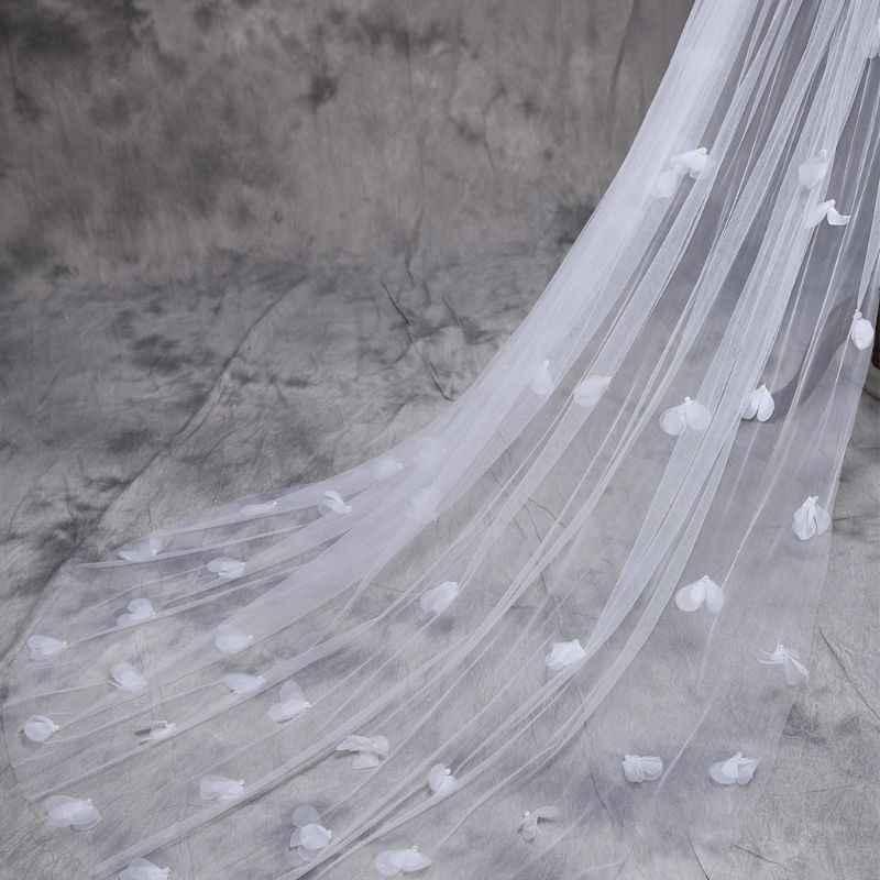 טול שמלת כלה רכה לבן פרחים עלה כותרת רב שכבה סופר ארוך כלה שיער רעלה פיות כלה אביזרי נישואים