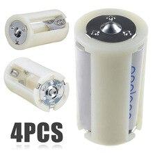4 قطعة AA شفافة إلى حجم D بطارية محول محول حالة AA بطارية محول محول حامل الجلاد صندوق تخزين