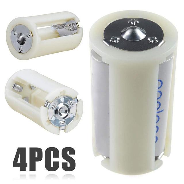 4Pcs Translucent Aa Naar Maat D Batterij Converter Adapter Case Aa Batterij Case Adapter Converter Houder Switcher Case Box opslag