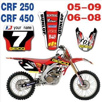 New Full Graphics Decals Stickers Custom Number Name Glossy Bright Stickers Waterproof for HONDA CRF250 CRF450 2005-2009
