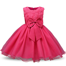Girl Dress Sleeveless O-neck Kid Dresses Girls Clothes Party Princess Birthday Dress Christmas with Rose Flower Bow Ball Gown cenicienta girls clothes bare shoulder o neck sleeveless princess dress for girl birthday party and wedding children clothing