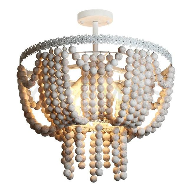 Vintage Style Wooden Bead Chandelier