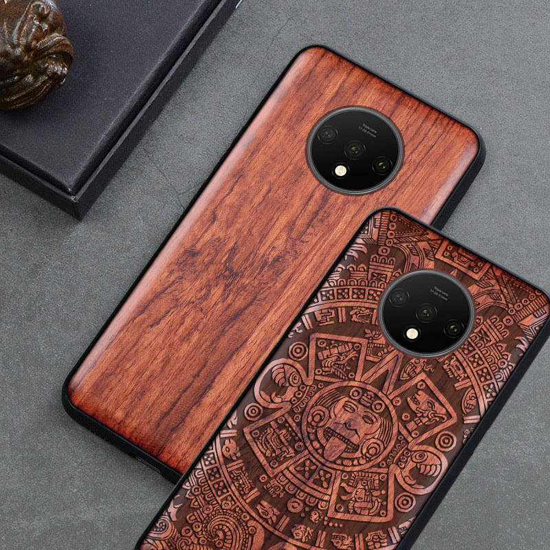 Carved Wood Case For OnePlus 7T One Plus 7T Shockproof Case TPU Bumper Cover For OnePlus 7t Pro Case Wood Shell Oneplus 1+7t