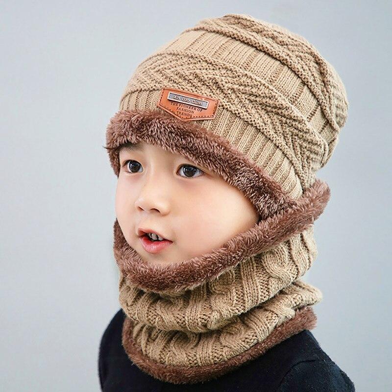 Новая модная Высококачественная зимняя детская вязаная шапка, шарф, комплект из 2 предметов, Детские утепленные бархатные шапочки, теплая шапка для мальчиков и девочек - Цвет: Khaki